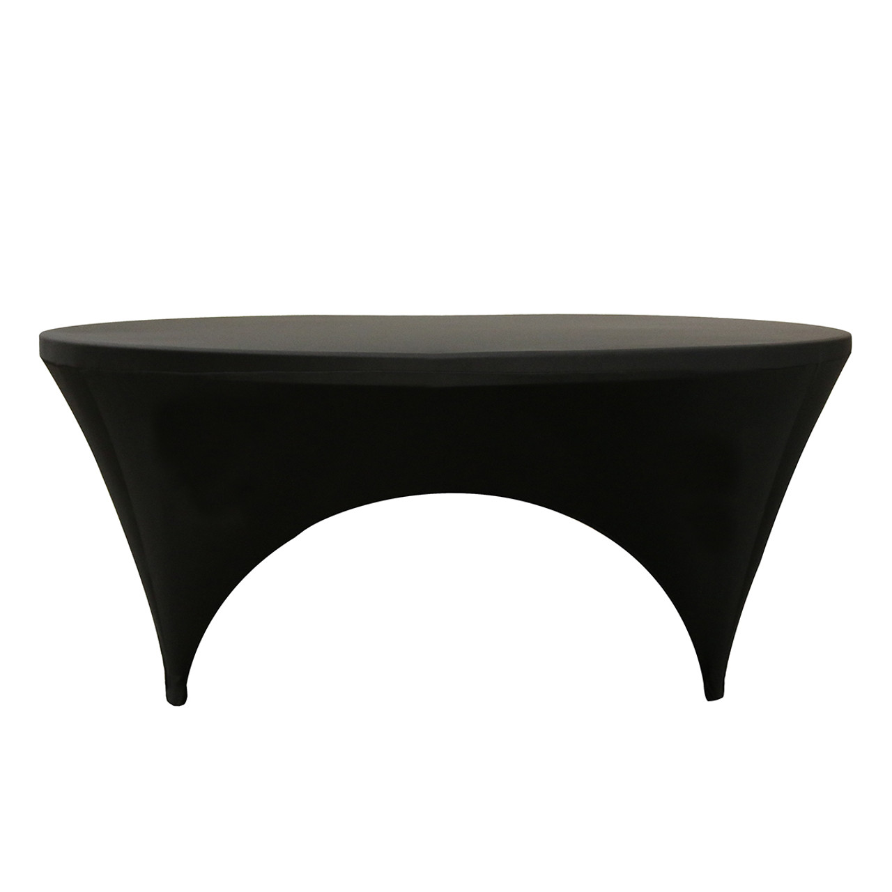 225 & 6 ft Round Open Sides Spandex Table Cover Black