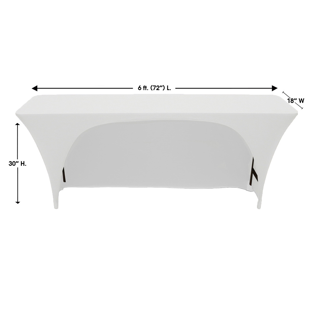 6Ft x 18 Inches Open Back Classroom Spandex Table Cover White  sc 1 st  Bridal Tablecloths & 6Ft x 18 Inches Open Back Classroom Spandex Table Covers White