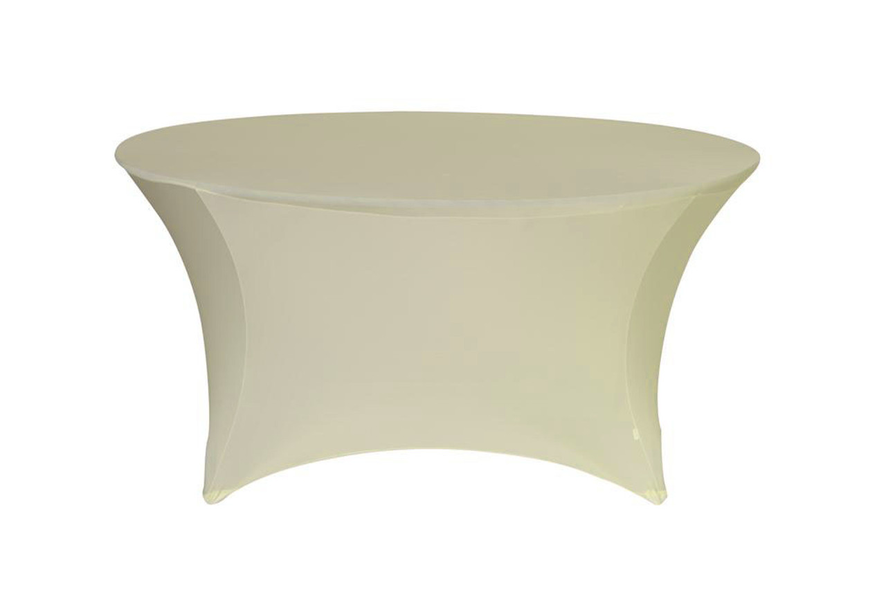 Wholesale Stretch Spandex 5 Ft. Round Table Covers Ivory | Bridal  Tablecloths