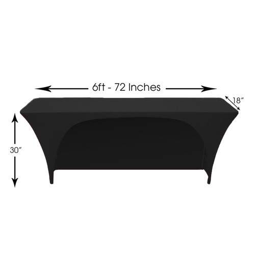 225 & 6 Ft x 18 Inches Open Back Classroom Spandex Table Cover Black