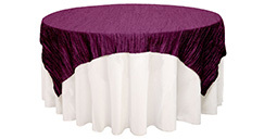 72 inch Square Crinkle Taffeta Table Overlays