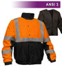 This Hi Vis Orange Jacket is an ANSI Class 3 compliant Waterproof & Breathable High Visibility Bomber Jacket. It is made with a waterproof, breathable shell of 300 denier woven polyester, removable 200g fleece lining. The black accents along the bottom, cuffs and neck help hide dirt in those frequent contact areas. The detachable hood is waterproof. Other features include: Adjustable cuffs, a zip through collar with full length storm flap to keep you dry, a hidden cell phone pocket under the storm flap, a radio/mic tab on the right shoulder and 3M&trade Reflective Material.