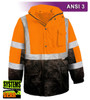 This Hi Vis Orange Safety Jacket is an ANSI Class 3 compliant 2-Tone Orange Waterproof Parka. Our VEA®brand (Visibility Enhanced Apparel) High Visibility Jackets feature 3M™ Scotchlite™ Reflective Material. As a part of our Systems Gear, you can extend the season by zipping in our VEA-421 3-Season Jacket for comfort in extreme conditions. Another option for lining the parka is the VEA-602 Zip Hooded Sweatshirt.