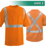 This Hi Vis Orange Safety Shirt is ANSI Class 2 Compliant with an X-back. Made with lightweight 4.1oz Birdseye Knit Polyester It feels butter soft on the inside, yet is work-wear durable. The performance fabric wicks away moisture 3x faster than cotton and minimizes odor. Our VEA® brand (Visibility Enhanced Apparel High Visibility Shirt features 3M™ Scotchlite™ Reflective Material.