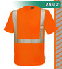 This Hi Vis Orange Safety Shirt is ANSI Class 2 Compliant. Made with lightweight 4.1oz Birdseye Knit Polyester. It feels butter soft on the inside, yet is work-wear durable. The performance fabric wicks away moisture 3 times faster than cotton and minimizes odor. Our VEA® brand (Visibility Enhanced Apparel). In addition, the 3M™ Scotchlite™ Reflective Material – 5510 Comfort Trim adds extra comfort and does not buckle or rub like sewn on reflective tape.