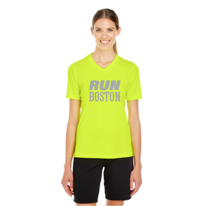 Run Boston Women's Short-Sleeve V-Neck Reflective T-Shirt