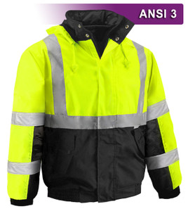 This Hi Vis Safety Jacket is an ANSI Class 3 compliant Waterproof & Breathable High Visibility Bomber Jacket. It is made with a waterproof, breathable shell of 300 denier woven polyester, 330 gram polar fleece lining, and a unique inter-liner between the layers improves the performance of the insulation.