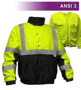 This Hi Vis Safety Jacket is an ANSI Class 3 compliant Waterproof & Breathable High Visibility Bomber Jacket. It is made with a waterproof, breathable shell of 300 denier woven polyester, removable 200g fleece lining. The black accents along the bottom, cuffs and neck help hide dirt in those frequent contact areas. The detachable hood is waterproof. Other features include: Adjustable cuffs, a zip through collar with full length storm flap to keep you dry, a hidden cell phone pocket under the storm flap, a radio/mic tab on the right shoulder and 3M™ Reflective Material.