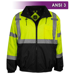 This Hi Vis Safety Jacket is an ANSI Class 3 compliant High Visibility Bomber Jacket. It is made with a waterproof shell of 300 denier woven polyester and a quilted padded tafeta liner.