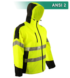 This Hi Vis Safety Jacket is an ANSI Class 2 compliant hooded windbreaker. Our VEA® brand (Visibility Enhanced Apparel) features Reflective Material. This Safety Jacket offers affordable ANSI compliance for warm weather climates or between seasons. This fully lined windbreaker consists of a 100% polyester water resistant shell with 100% nylon accents.