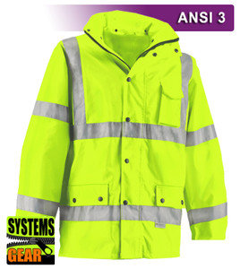 This Hi Vis Safety Jacket is an ANSI Class 3 compliant Waterproof Parka. Our VEA®brand (Visibility Enhanced Apparel) High Visibility Jackets feature 3M™ Scotchlite™ Reflective Material. As a part of our Systems Gear, you can extend the season by zipping in our VEA-421 3-Season Jacket for comfort in extreme conditions. Another option for lining the parka is the VEA-602 Zip Hooded Sweatshirt.
