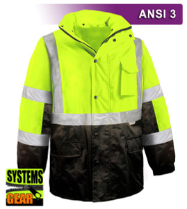 This Hi Vis Safety Jacket is an ANSI Class 3 compliant 2-Tone Waterproof Parka. Our VEA®brand (Visibility Enhanced Apparel) High Visibility Jackets feature 3M™ Scotchlite™ Reflective Material. As a part of our Systems Gear, you can extend the season by zipping in our VEA-421 3-Season Jacket for comfort in extreme conditions. Another option for lining the parka is the VEA-602 Zip Hooded Sweatshirt.