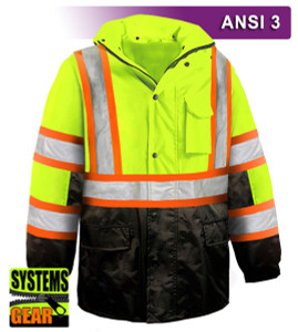 This Hi Vis Safety Jacket with Contrasting Trim for Transportation Departments (DOT)  is an ANSI Class 3 compliant 2-Tone Waterproof Parka. Our VEA®brand (Visibility Enhanced Apparel) High Visibility Jackets feature 3M™ Scotchlite™ Reflective Material. As a part of our Systems Gear, you can extend the season by zipping in our VEA-421 3-Season Jacket for comfort in extreme conditions. Another option for lining the parka is the VEA-602 Zip Hooded Sweatshirt.
