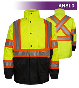 This Hi Vis Safety Jacket with Contrasting Trim for Transportation Departments (DOT)  is an ANSI Class 3 compliant 2-Tone X-Back Waterproof Parka. Our VEA®brand (Visibility Enhanced Apparel) High Visibility Jackets feature 3M™ Scotchlite™ Reflective Material. As a part of our Systems Gear, you can extend the season by zipping in our VEA-421 3-Season Jacket for comfort in extreme conditions. Another option for lining the parka is the VEA-602 Zip Hooded Sweatshirt.