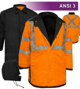 "The Reversible Waterproof Mid-Length Raincoat has a High Visibility Orange Class 3 side and a black side, each with 2 hand warmer lined slash pockets, a heavy mic / badge tab (total of 2), and left & right 16"" Zippered Duty Belt access. This Reversible Jacket is designed to comply with ANSI standards when you need it and to offer a low conspicuity option when you don't."