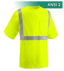 This Hi Vis Safety Shirt is ANSI Class 2 Compliant. Made with lightweight 4.1oz Birdseye Knit Polyester, it feels butter soft on the inside, yet is work-wear durable. The performance fabric wicks away moisture 3x faster than cotton and minimizes odor. Our VEA® brand (Visibility Enhanced Apparel High Visibility Shirt is available in Tall sizes L-6X. In addition, this shirt features 3M™ Scotchlite™ Reflective Material.