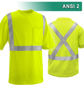 This Hi Vis Safety Shirt is ANSI Class 2 Compliant with an X-back. Made with lightweight 4.1oz Birdseye Knit Polyester It feels butter soft on the inside, yet is work-wear durable. The performance fabric wicks away moisture 3x faster than cotton and minimizes odor. Our VEA® brand (Visibility Enhanced Apparel High Visibility Shirt features 3M™ Scotchlite™ Reflective Material.