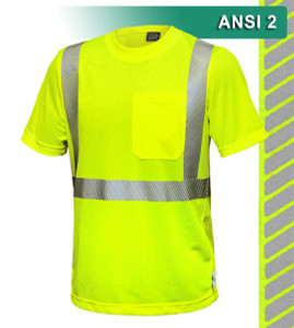 This Hi Vis Safety Shirt is ANSI Class 2 Compliant. Made with ultra lightweight 3.7oz Micromesh Polyester. The micromesh's breathability permits movement of air around the body, keeping you cool and comfortable. As a performance fabric, it wicks away moisture 3x faster than cotton. Our VEA® brand (Visibility Enhanced Apparel) High Visibility Shirt is the longest wearing and lightest weight t-shirt on the market, featuring 75 wash certified reflective. In addition, the 3M™ Scotchlite™ Reflective Material – 5510 Comfort Trim adds extra comfort and does not buckle or rub like sewn on reflective tape.
