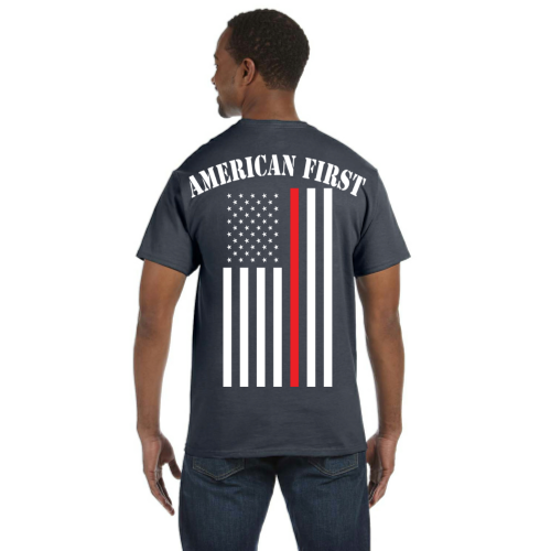 e76be2fc Men's American First Firefighter Tribute Reflective T-Shirt (White Graphic)