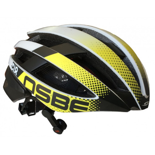 Osbe Bike Helmet 318 Yellow Graphic + Bluetooth Phone Lights