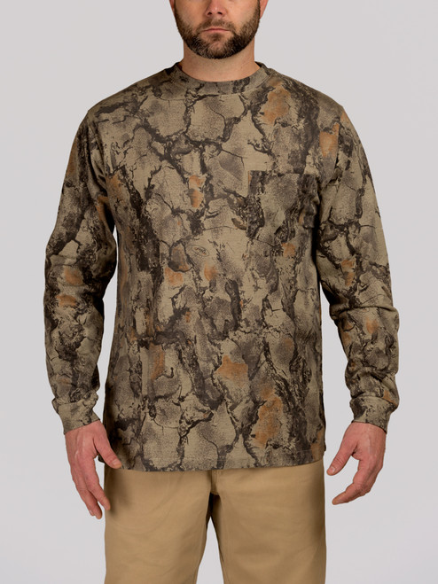 da81e1b8e Natural Camo Long Sleeve Hunting Tee- Cotton Hunting Shirt - Natural ...