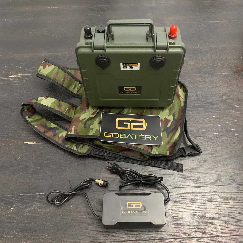 12.8v 50Ah LFP Lithium Iron Phosphate Battery, 120V AC Wall Charger, Military Camo Case