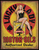 LUCKY  LADY  MOTOR OIL ---METAL SIGN