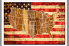"""USA  FLAG  MAP""  PRINTED ON WOOD"