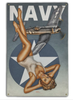 """NAVY  CORSAIR  AND PIN-UP""  METAL  SIGN"