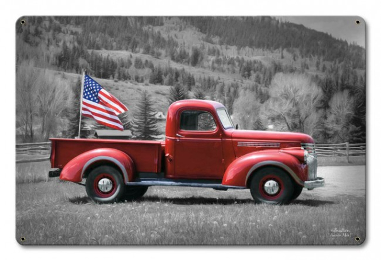 American Truck And Flag Metal Sign Pin Ups For Vets Store