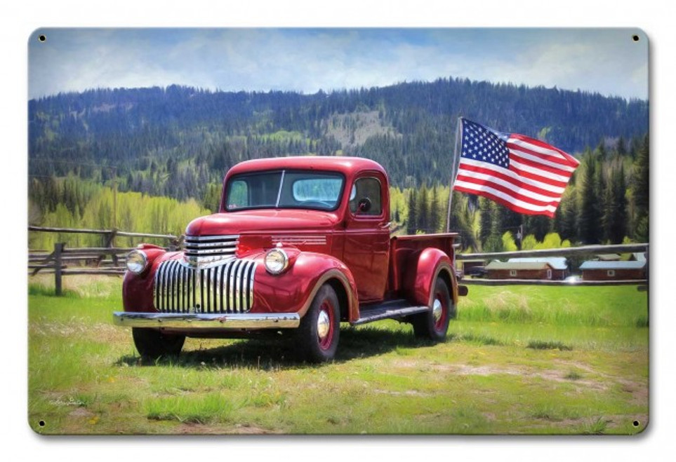 """PICK  UP  TRUCK  WITH  FLAG""  METAL  SIGN"