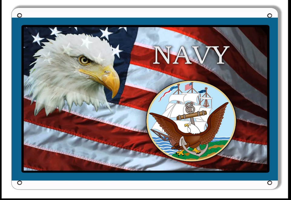 """""""U.S. NAVY TRIBUTE FLAG WITH EAGLE""""  METAL  SIGN"""