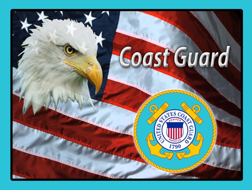 """""""COAST GUARD MILITARY TRIBUTE FLAG & EAGLE""""  METAL SIGN"""