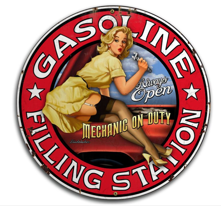 """FILLING STATION""  ROUND  METAL  SIGN"