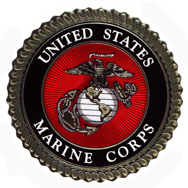 """US  MARINE  CORPS  INSIGNIA""  14""  ROUND  METAL  SIGN"