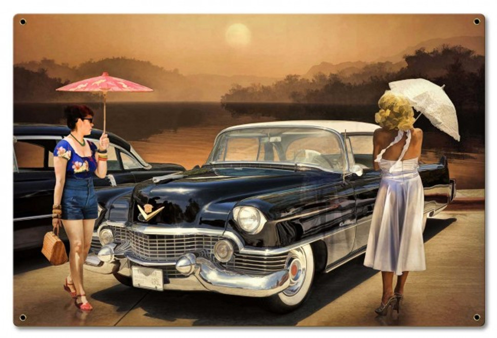 """The Cadillac and The Pin-Ups"" METAL SIGN"