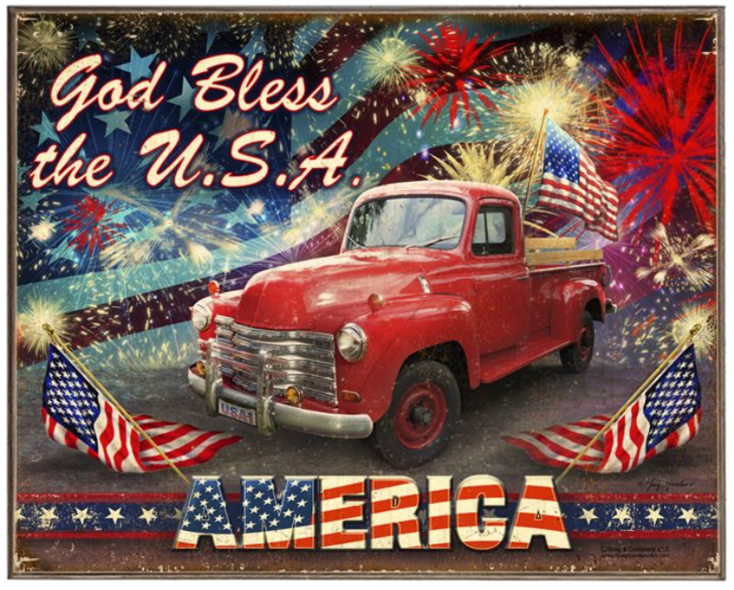 """GOD  BLESS  THE  USA""  METAL  SIGN"