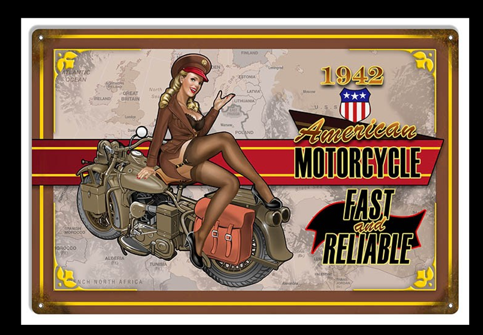 """""""AMERICAN MOTORCYCLE WITH PIN-UP""""  METAL SIGN"""