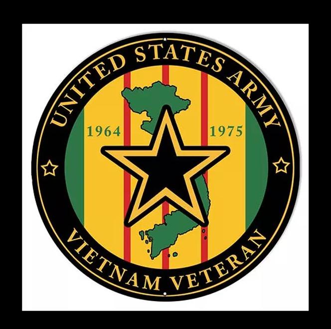 """U.S. ARMY VIETNAM VETERAN"" METAL SIGN"
