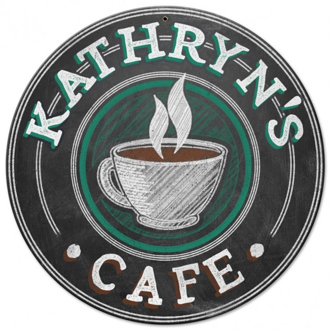 """""""PERSONALIZED  CAFE """"  METAL  SIGN"""