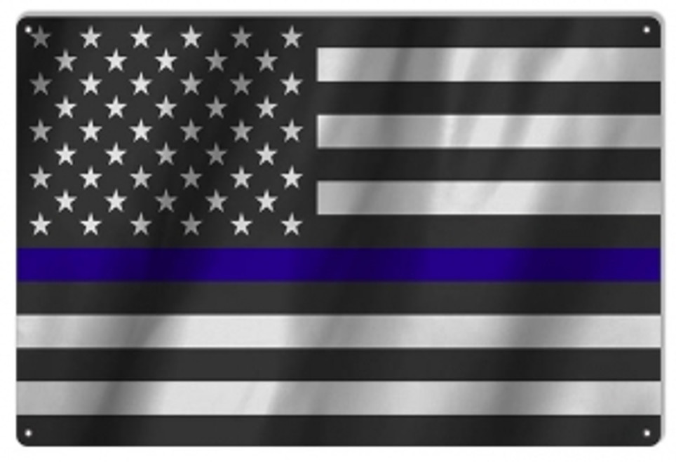 """United States Police Officers Flag""  12x18 Metal Sign"