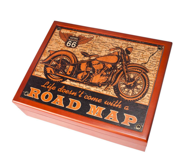"""Road Map & Bike"" -----------  6"" x 8"" Mahogany  Box"