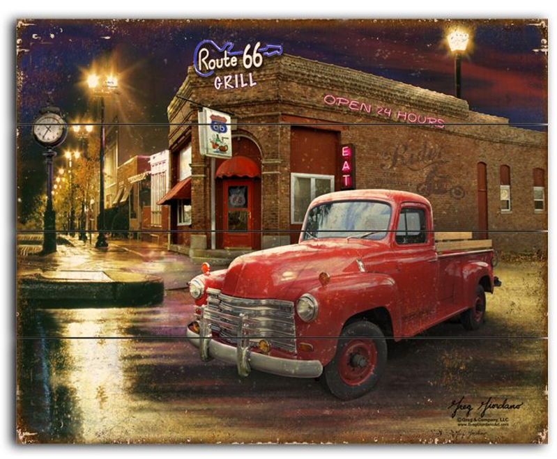 """Route 66 Grille""--- 12x15  Planked  Wood  Sign"