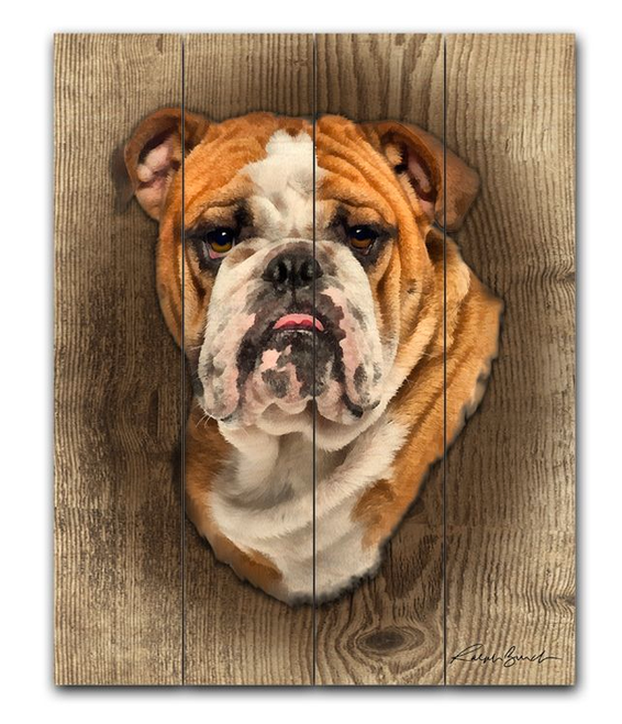 Bulldog-- 12x15 Planked Wood Sign
