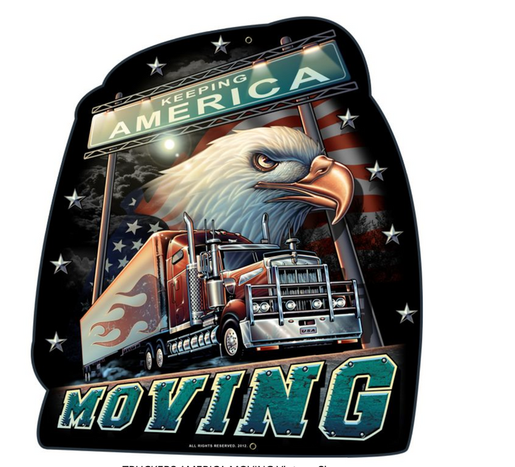 """TRUCKERS  KEEP  AMERICA  MOVING""   METAL  SIGN"