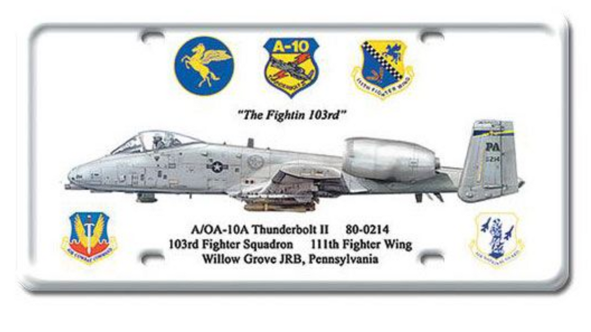 A-10  Thunderbolt II--  License Plate Sign