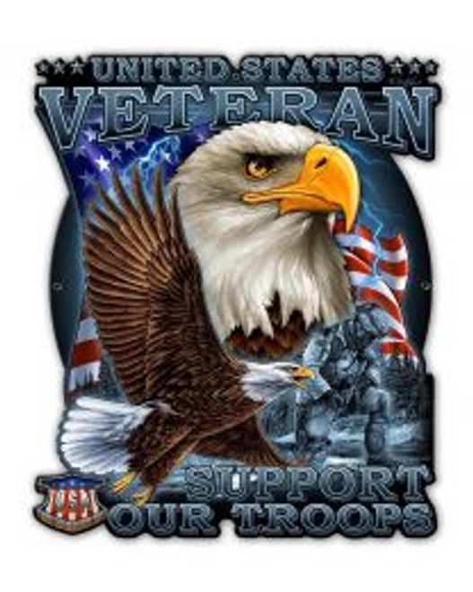 """""""UNITED STATES VETERAN-- SUPPORT OUR TROOPS""""  METAL SIGN"""