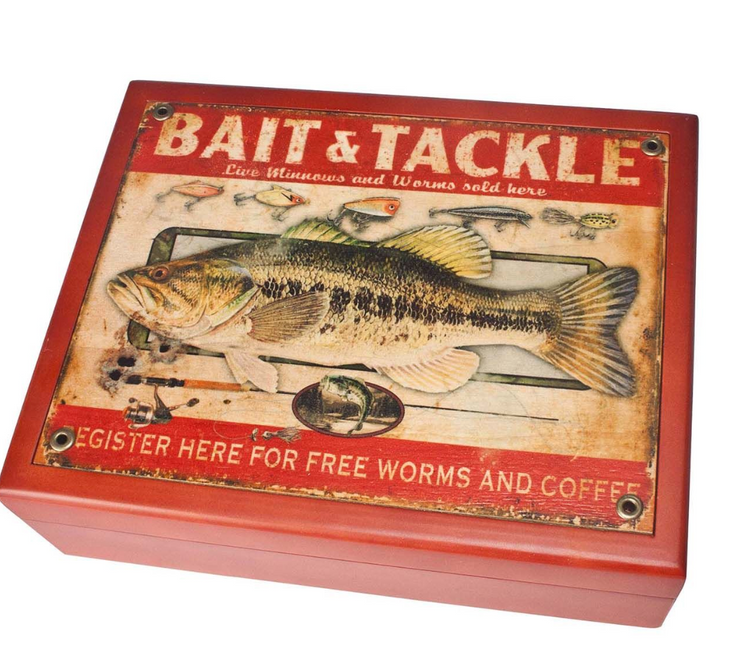 """BAIT AND TACKLE"" -----------6"" X 8"" MAHOGANY BOX"