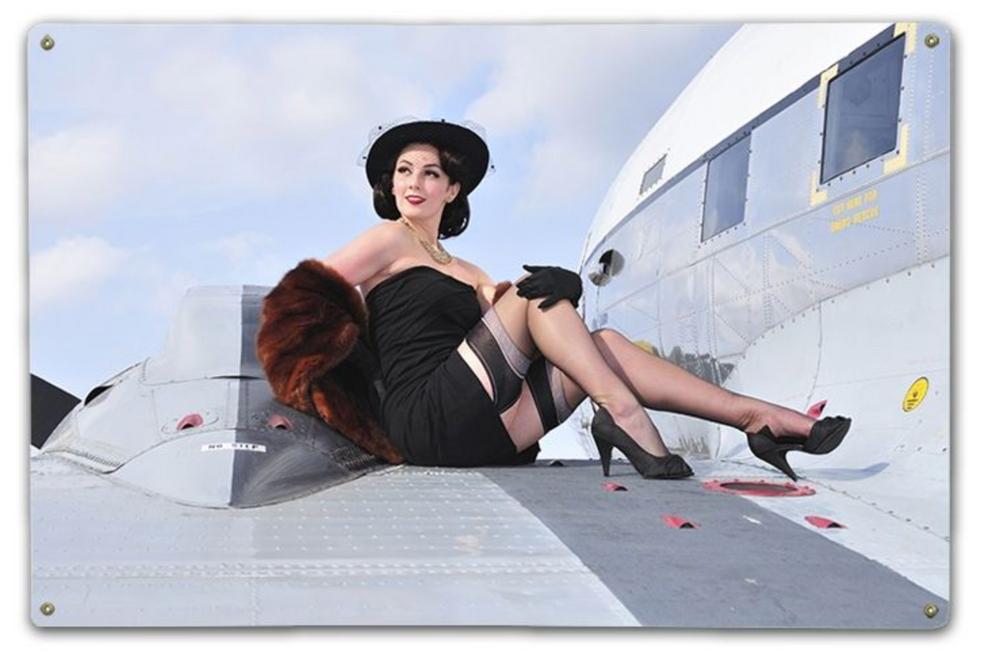 """ A BEAUTIFUL WOMAN ON A BEAUTIFUL AIRCRAFT""  METAL SIGN"