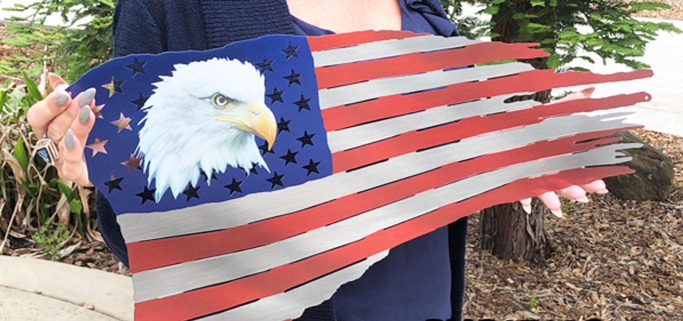 AMERICAN  FLAG WITH EAGLE--LASER-CUT STEEL WALL ART